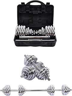 XINQITE 66lbs Adjustable Dumbbell Set with Carry Case, A Pairs Free Weight Barbell with Steel Connector for Bodybuilding T...