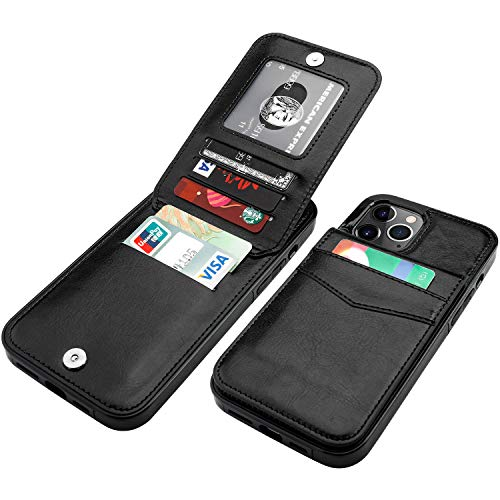 KIHUWEY Compatible with iPhone 12 Pro Max Case Wallet with Credit Card Holder, Premium Leather Magnetic Clasp Kickstand Heavy Duty Protective Cover for iPhone 12 Pro Max 6.7 Inch(Black)