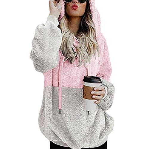 U/A de manga larga con capucha de color a juego de las mujeres suéter suéter abrigo
