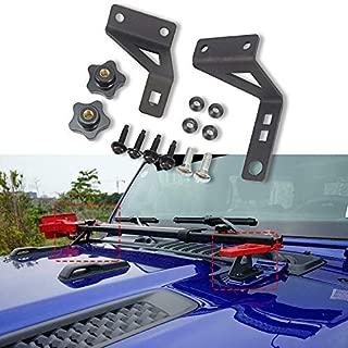 HEQIANG Two PCS Hi Lift Jack Mount Hood Door Hinge Brackets Kit for Jeep Wrangler JK 2007-2017 JL 2018 2019 High Lift