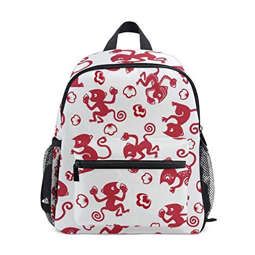 赤い猿の切り絵幼児就学前のバックパック本袋ミニショルダーバッグリュックサック通学用1-6年旅行男の子女の子