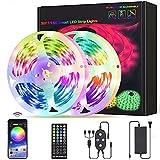 Bluetooth Tiras LED, 5050 RGB Musical Tiras de Luces LED, Función Musical, Horario Personal, Control de APP y de Control Remoto, 12V Tiras Iluminación Kit con Adaptador (Size : 10M)