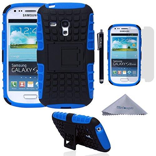 Wisdompro S3 Mini Case, 2 Piece in 1 Dual Layers Heavy Duty Hard Soft Hybrid Rugged Protective Case with Foldable Kickstand for Samsung Galaxy S3 Mini (NOT S3 Fit) - Blue/Black