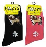 Foozys Damen Crew Socken |Möpse und Pfote Tier Themenorientierte Neuheit Socken |2 Paar