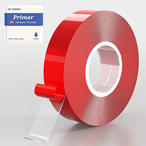 Cinta de doble cara con promotor, HOMINA 2.0cm x 5m Acrílico 1mm de espesor Adhesivo impermeable Cinta de montaje extraíble transparente para alfombras Manualidades de bricolaje Fijación de carteles