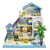 Septiembre-Europe – DIY 1:24 Romántico Mar Egeo Villas en miniatura Kit creativo casa de muñecas DIY Kit montado para regalo de cumpleaños con luces LED
