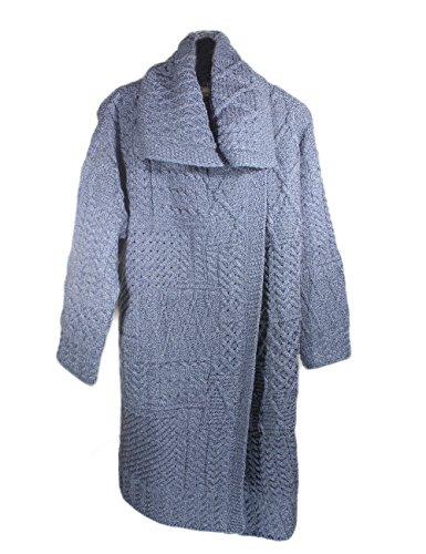 Carraig Donn Damen Irish Knit Patchwork Cardigan Gr. L, denim-blau