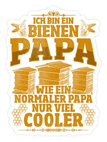 shirt-o-magic Aufkleber Imker Vater: Bienen-Papas sind cool - Sticker - 10x10cm - Weiß