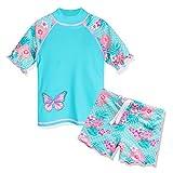HUAANIUE Kinder Bademode Set Badeanzug mit UV-Schutz Sommer Strand Sonnenschutz Kleidung,Cyan,9-10...
