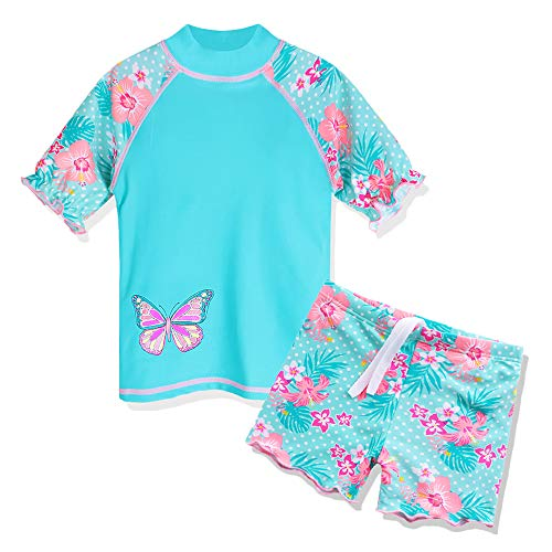 HUAANIUE Girls 2PCS Swimsuit 3-11Y Swimming Set Short Sleeve Swimwear Summer Beach Swimming Costume Outfit Sun Suit
