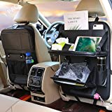 Car Seat Organizer+Car Trash Can, Backseat Car Organizer, Protector Kick Mats for Kids, Table Tray, Foldable Dining Table with iPad and Tablet Holder, Travel Accessories Organizer (1 Pack)