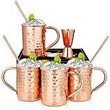 Hossejoy Moscow Mule - Set di 4 bicchieri in rame con 4 cannucce e 1 misurino in confezione regalo, superficie liscia in rame per Mosca Mule Gin Birra