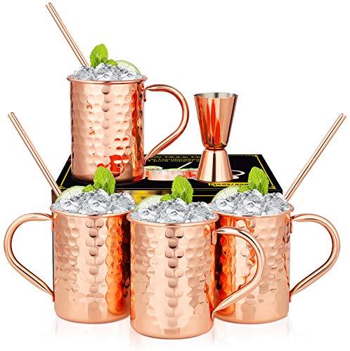 Hossejoy Moscow Mule Becher 4er Set, Kupferbecher mit 4 Trinkhalme & 1 Messbecher in Geschenkbox, Glatte Oberfläche Kupferbecher für Moskau Mule Gin Bier