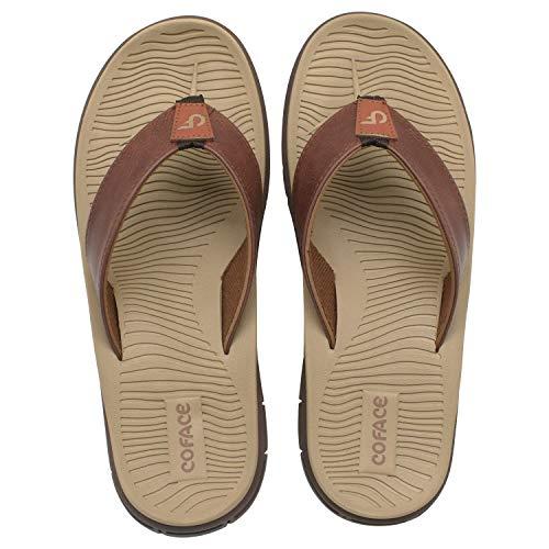 Men's Sport Sandals Leather Flip Flops For Men With Memory Foam Footbed Outdoor Khaki Size 14
