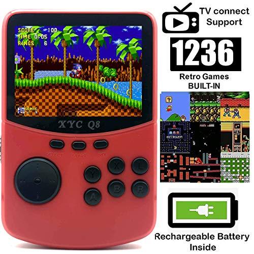 O RLY 16bit Handheld Spielkonsole Retro Konsole 1236 Retro Classic Spiel, 3 Zoll Bildschirm Mini Videospiel-Spieler