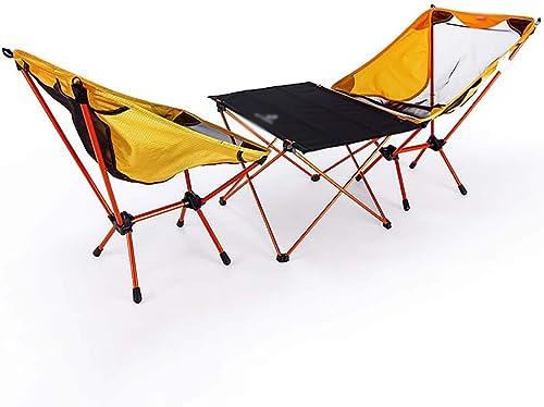 ZJING Table et Chaise de Loisirs Pliantes en Plein air 3 pièces Combinaison Portable Ultra Light Camping Picnic Set