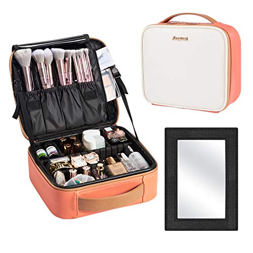 Detachable Mirror Leather Travel Makeup Bag Cosmetic Storage Bag Organizer Portable Brush Holder with Adjustable Divider Trian Case Gift for Women Beauty - Coral