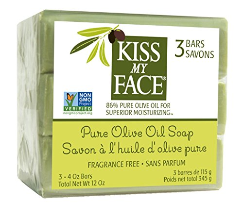 Kiss My Face Pure Olive Oil Naked Bar Soap, 4 oz (Pack of 3)