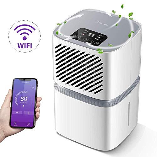 iTvanila - Deumidificatore da 12 l al giorno, per uso domestico, con controllo mediante Wi-Fi, indicatore LED con spegnimento automatico, scarico continuo con tubo, colore: bianco