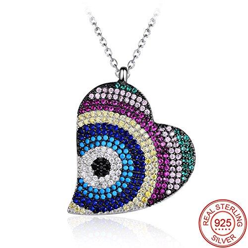 Collier clavicule pour femme, BBYaki S925 pendentif en forme de coeur zircon couleur argent, boîte cadeau