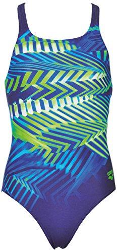 Arena meisjes sport badpak Spike (sneldrogend, UV-bescherming UPF 50+, chloorresistent, open rug), navy-leaf (706), 116