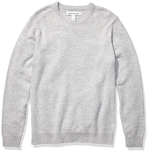 Amazon Essentials Men's Midweight Crewneck Sweater, Light Grey Heather, Large