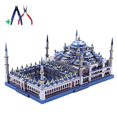 YUELAI 3D Metal Puzzle,Weltberühmte Architektur Sultan Ahmed Mosque (Blaue Moschee) Metall Architekturmodell, DIY Puzzle Spielzeug