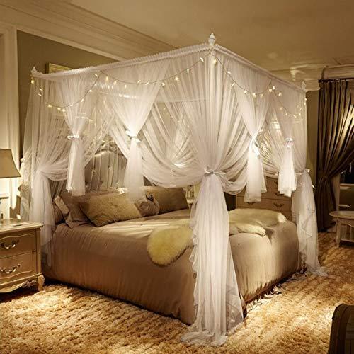Moskitonetz Doppelbett, großes Mückennetz für Bett, feinste Löcher, rechteckiger Netzvorhang Reise, Insektenschutz, 3 Einträge, einfache Anbringung, Tragetasche, Keine Chemikalien,L3,2 * 2.2m