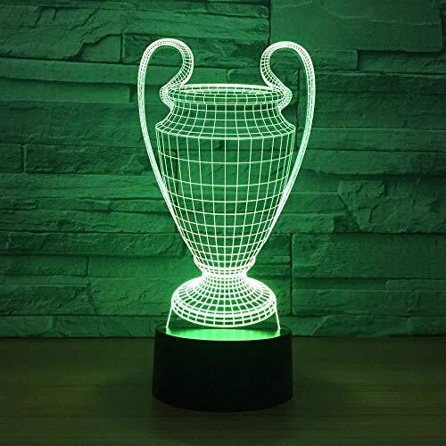 Voetbal Beker Trofee 3D Lamp 7 Kleuren Veranderende LED Nachtlampje Touch Knop USB Slaapkamer Luminaria Vrienden Gift
