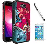 LG X Power 2 / LG Fiesta LTE/LG K10 Power/LG LV7 Case, Luckiefind Slim Hybrid Dual Layer Case Cover with Stylus Pen, Screen Protector Accessory. (Butterfly Bliss)