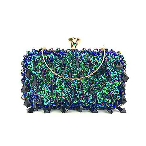 UBORSE Pochette Per Donna Borsetta Cerimonia Borsa da sera da Tracolla Diamond Clutch per Cocktail Party Matrimonio (b-blu pavone)