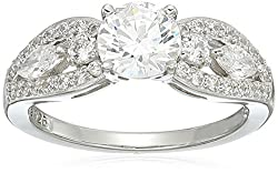 3efcb267754e2 Sterling Silver Swarovski Zirconia Round and Marquise Cut Ring on ...
