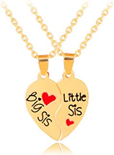 Gifts for Sisters Heart Matching Big Sis Little Lil Sis Sisters Necklace Jewelry Gift Set Best Friends Sister Necklaces for 2 Sister Jewelry Birthday Christmas Gifts for Girls Teens Women
