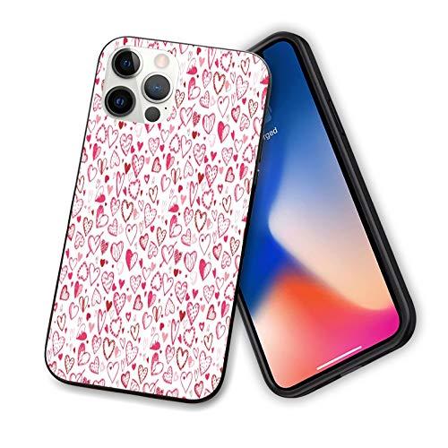 Funda diseñada para iPhone 12 Pro Max, diseño de corazones en rojo y rosa para parejas románticas, funda de silicona a prueba de golpes, con forro antiarañazos, 6.7 pulgadas, color rosa rubí blanco