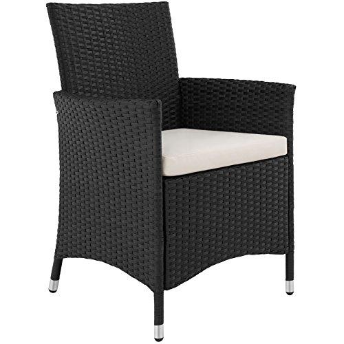 TecTake 800325 - Poly Rattan Sitzgruppe, 6 Stühle mit Sitzkissen, 1 Tisch mit 2 Glasplatten, inkl. Schutzhülle - Diverse Farben - (Schwarz | Nr. 402058) - 4