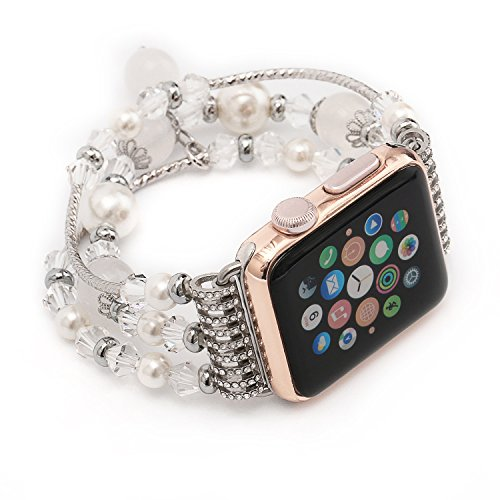 Newest Apple Watch 3/2/1 Band Replacement, KOMEI Fashion Sports Beaded Bracelet Strap Band For Apple Watch Series 3/ 2/1 / Watch Sport / iWatch Band for 38mm/42mm Apple Watch Models (42mm white)