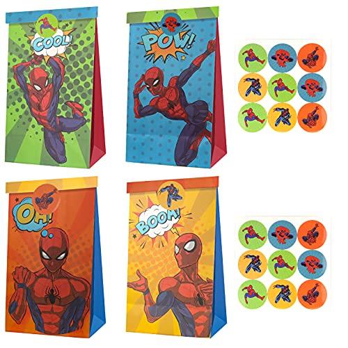 Yisscen Sacchetti Regalo di Carta,12 Pezzi Spiderman Sacchetto Regalo Compleanno,Sacchettini Compleanno Bambini,Sacchetti Caramelle per Feste,Caramelle Compleanno,Matrimoni,Natale Contiene 18 Adesivi