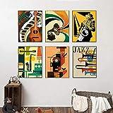 VVSUN Carteles Retro de Instrumentos Musicales Jazz Cartel e Impresiones Vintage Piano Cuerno francés Imagen de Arte de Pared Decoración del hogar 30X40cm 12x16inchx6 Sin Marco