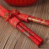 LHQ-HQ 2 Pares dragón Chino Tradicional y el patrón de Phoenix Herramientas Palillos Regalo Feliz roja Menaje de Cocina Boda