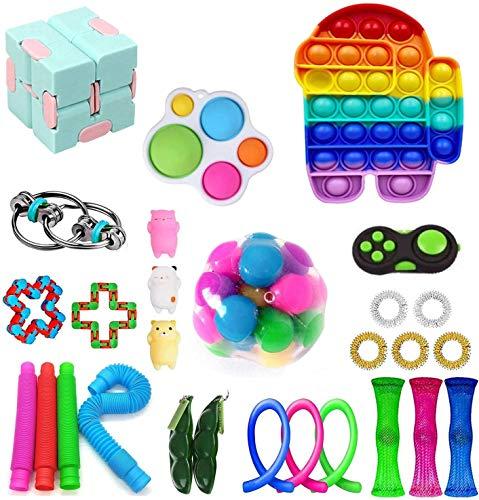 Fidget Pack, 28Pcs Fidget Toys Cheap Fidget Toys Set Sensory Fidget Toys for Kids Adults, Simple Dimple Fidget Toys, Stress Relief and Anti-Anxiety Tools (F)