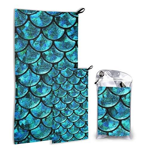 Lawenp Juego de Toallas de Viaje de Escamas de Sirena, Paquete de Toallas de Microfibra de Secado rápido para Acampar, Senderismo, mochilero