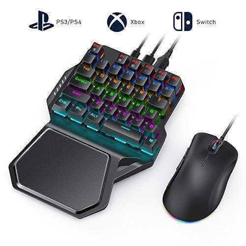 Jelly Comb Mechanische Gaming Tastatur Maus Set, RGB Beleuchtete Einhand Mini Tastatur und Maus Adapter mit Kabel für PS4, PS3, Xbox One, Nintendo Switch und Window PC Game, Schwarz