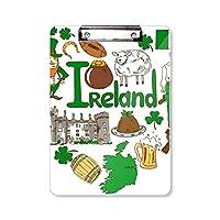 アイルランドの愛の心の風景の国旗 フラットヘッドフォルダーライティングパッドテストA4