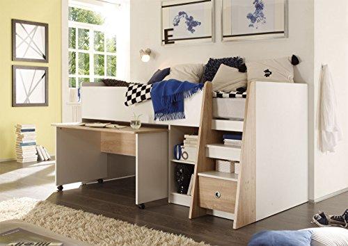 *lifestyle4living Jugendzimmer, Kinderzimmer, Jugendzimmermöbel, Kinderzimmermöbel, Sonoma, Eiche, Sägerau, weiß, Etagenbett, Hochbett, Schreibtisch, Kleiderschrank*