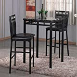 Home Source 3-Piece Bistro Set with Counter Height Black Faux Marble Table and 2 Textured Faux Leather Side Chairs (Black/Black)