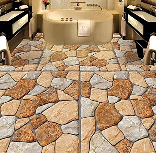 Papel tapiz mural personalizado, adoquines estéreo, pintura de suelo 3D, pegatina para baño, cocina, azulejos, Pvc, papel de pared impermeable-350 * 245Cm