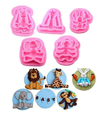 Animal (5in Set) Formen Silikon Fondant Kuchen dekorieren Supplies Schokolade Form Clay Form–-monkey 、 Kaninchen 、 Elefant 、 Giraffe 、 Löwe