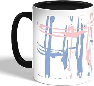 كوب سيراميك للقهوة بتصميم رسوم فنية، اسود