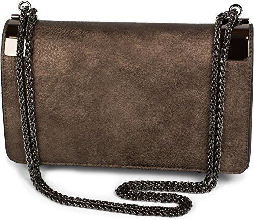 styleBREAKER Clutch, Abendtasche mit Metallspangen und Gliederkette, Vintage Design, Damen 02012046, Farbe:Antik-Bronze