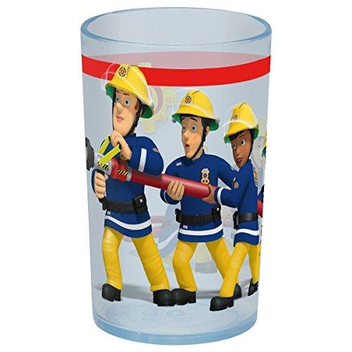 p:os 27117 Trinkglas im angesagtem Feuerwehrmann Sam Design, Trinkbecher für Jungen und Mädchen aus Kunststoff, Fassungsvermögen ca. 250 ml